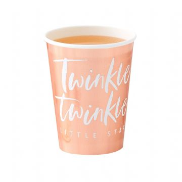 Twinkle Twinkle Little Star Baby Shower Rose Gold Paper Cups